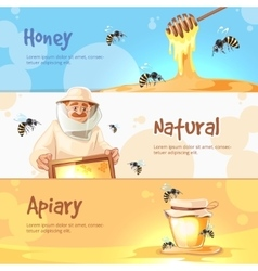 Horisontal banners set of Apiary symbols vector