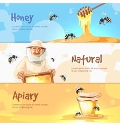 Horizontal banners set of apiary symbols vector