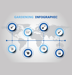 infographic design with gardening icons vector image