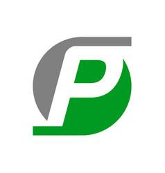 Initial p lettermark symbol design vector