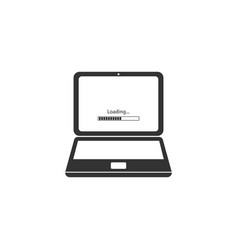 Laptop update process with loading bar icon vector