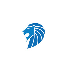 Lion head open mouth and roaring logo blue vector