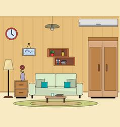 Living room interior flat vector