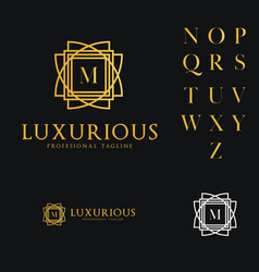 logo template luxurious hotel fashion letter m vector image
