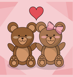 Loving bears couple animal baby heart decoration vector