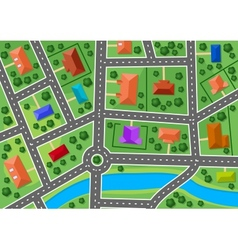 Map little town or suburb village vector