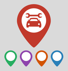 Map pointer with car service icon on grey vector