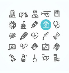 medicine symbols and signs black thin line icon vector image