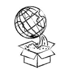 monochrome blurred silhouette of earth globe vector image