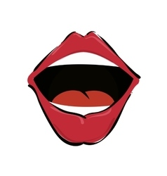 mouth red lips vector image