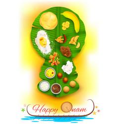 Onam feast on banana leaf vector image