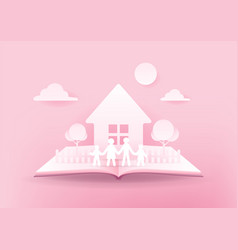 Open book happy family house and family paper vector
