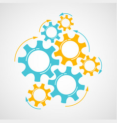 orange and azure cog and gear cooperation concept vector image