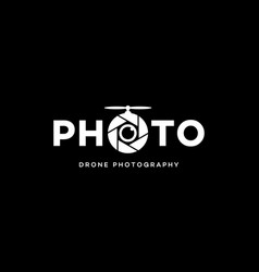 Photo drone photography logo design concept vector