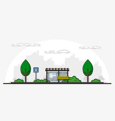 picture bus stop vector image