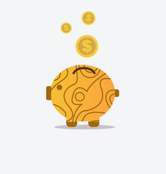 Pig bank and wood texture with coin icon saving vector