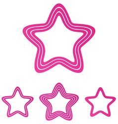 Pink line star logo design set vector