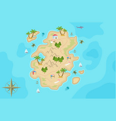 Pirate fantasy cartoon island map treasure vector