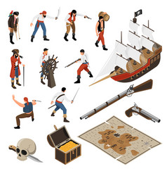 pirates isometric icons set vector image