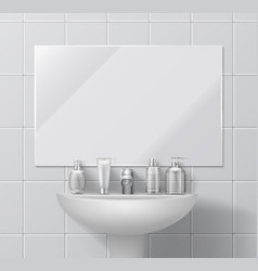 Realistic sink and mirror bathroom or toilet vector