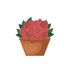 red roses in basket isolated icon vector image