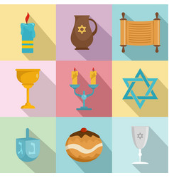 religious dish icons set flat style vector image