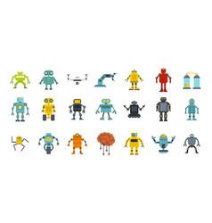 robot icon set flat style vector image
