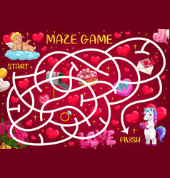 saint valentine day holiday maze for kids vector image