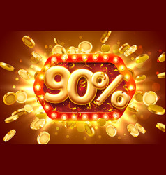 sale 90 off ballon number on red background vector image