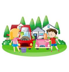 Scene with kids washing car vector