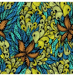 Seamless floral doodle pattern vector image