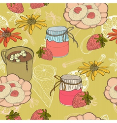 seamless food bakckground vector image