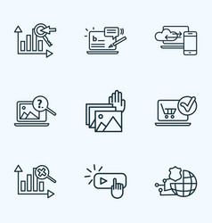 search icons line style set with blog commenting vector image