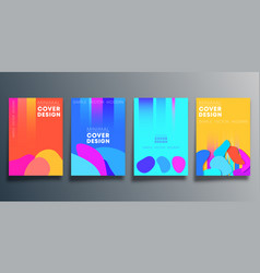 set abstract poster design with blob shapes vector image