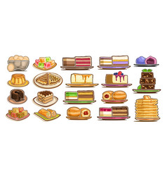 set assorted desserts vector image