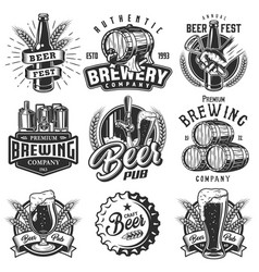 Set emblems with beer objects vector