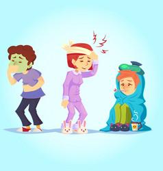 Set ill people having cold flu feel unwell vector