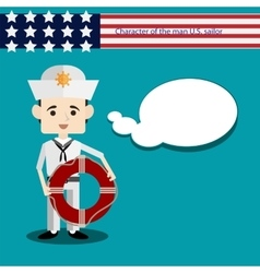 Set men character USA sailor vector