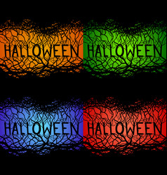 set of spooky inscriptions halloween with branches vector image