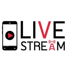 smartphone mobile broadcast live stream logo vector image