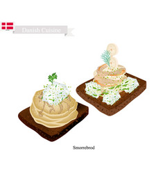 Smorrebrod with spiced meat roll the national dis vector