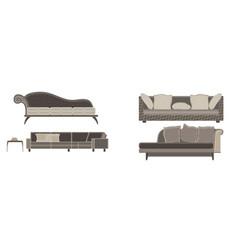 sofa set furniture room interior living chair vector image