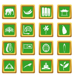 Sri lanka travel icons set green vector