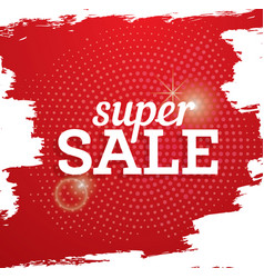 Super sale poster on red background with halftone vector