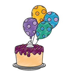 Sweet and delicious cake with balloons helium vector