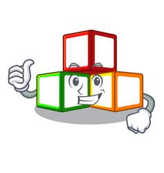 Thumbs up toy blocks cube blank cartoon wooden vector