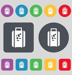 Travel luggage suitcase icon sign A set of 12 vector