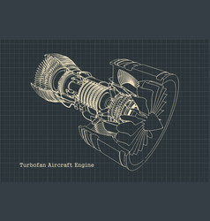 Turbofan engine blueprint vector