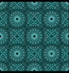 Turquoise bohemian stone mandala mosaic pattern vector