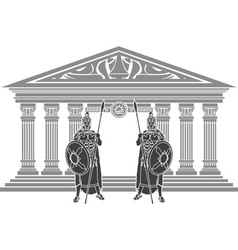 two titans and temple atlantis vector image